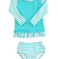 aqua striped polka long sleeve rash guard bikini (1)