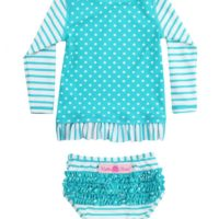 aqua striped polka long sleeve rash guard bikini (3)