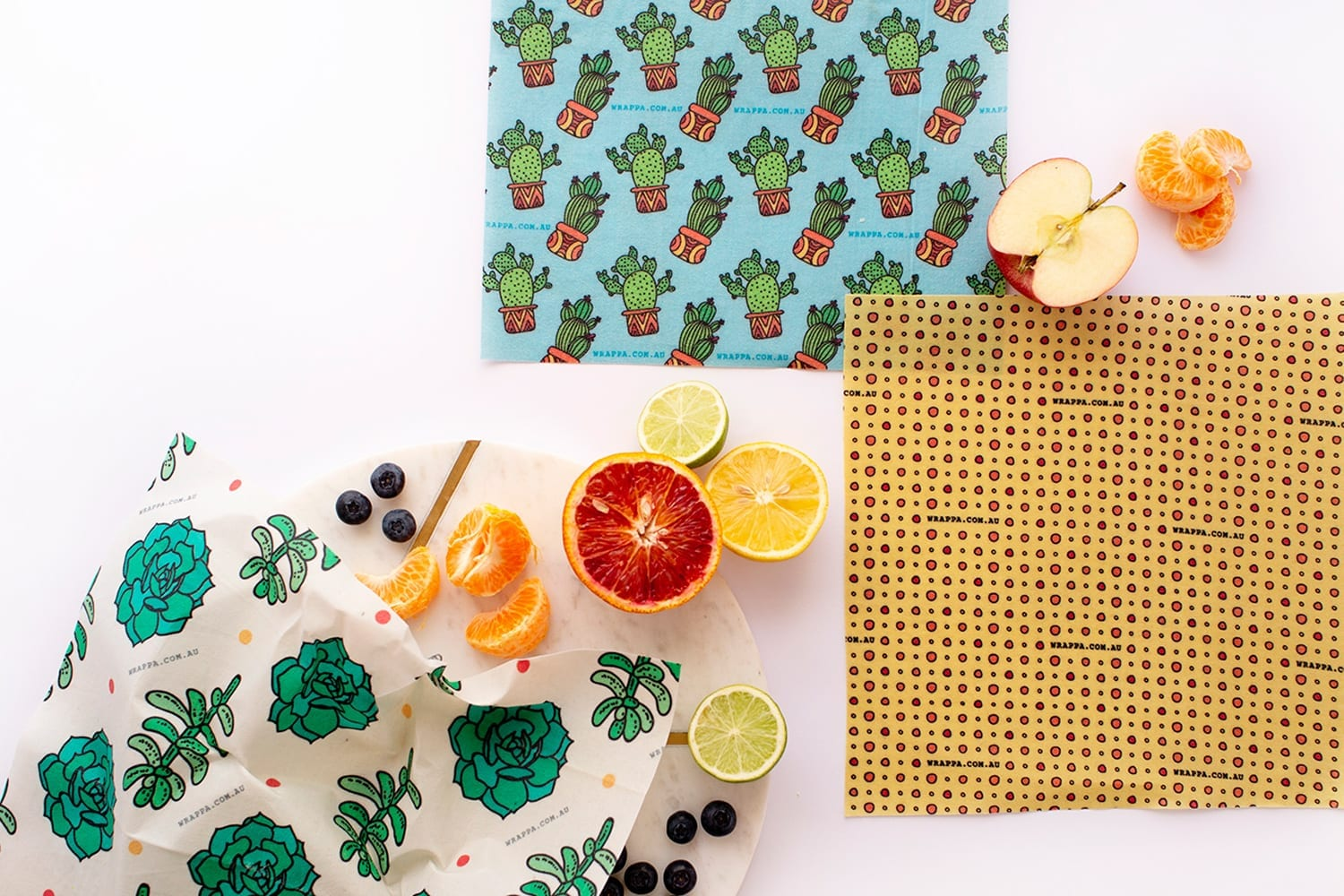 Wrappa | Organic Cotton Reusable Beeswax Food Wraps, 3 pack - Cacti and  Succulents